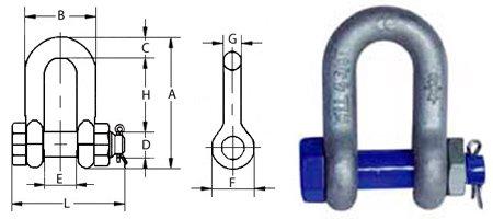 Скоба такелажна пряма G2150 (болт-гайка)