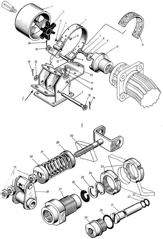 Гальмівна система вантажної лебідки схема